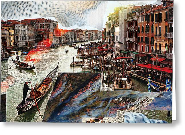 Sunset Framed Prints Mixed Media Greeting Cards - Incident in Venice Greeting Card by Naomi Shalev