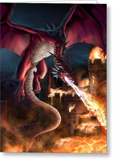 Castles Burning Greeting Cards - Incineration Greeting Card by Tom Wood