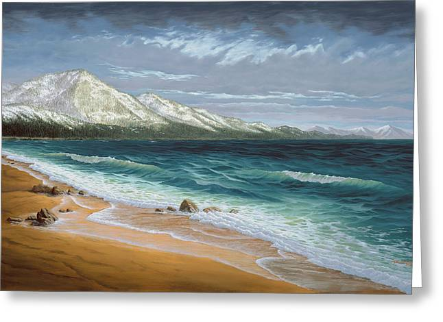 Snow Covered Mountain Greeting Cards - Incline Beach - North Shore - Lake Tahoe Greeting Card by Del Malonee