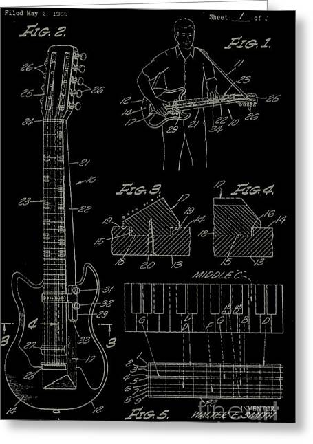 Incline Digital Greeting Cards - Inclined Guitar Body Greeting Card by Manik