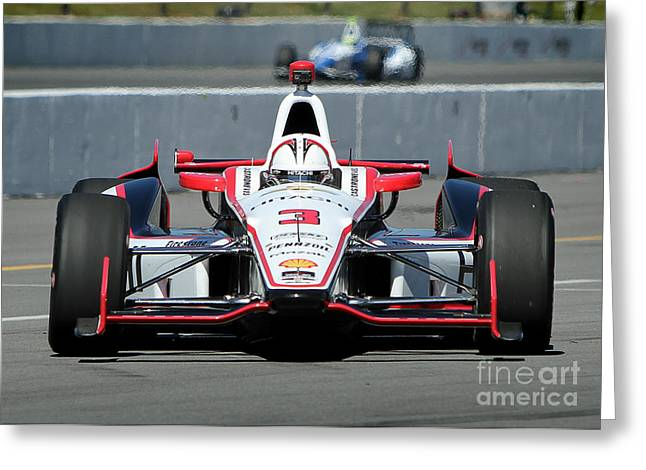 Indy Car Greeting Cards - Incoming Helio Castroneves Greeting Card by Bryan Maransky