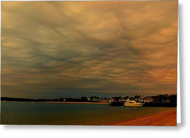 Storm Clouds Cape Cod Greeting Cards - Incoming Storm Greeting Card by Heather Mattos