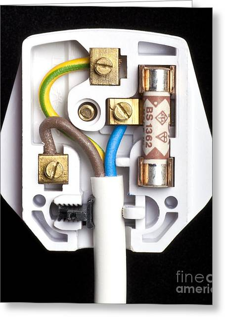 Electrocution Greeting Cards - Incorrectly Wired Three-pin Plug Greeting Card by Martyn F. Chillmaid
