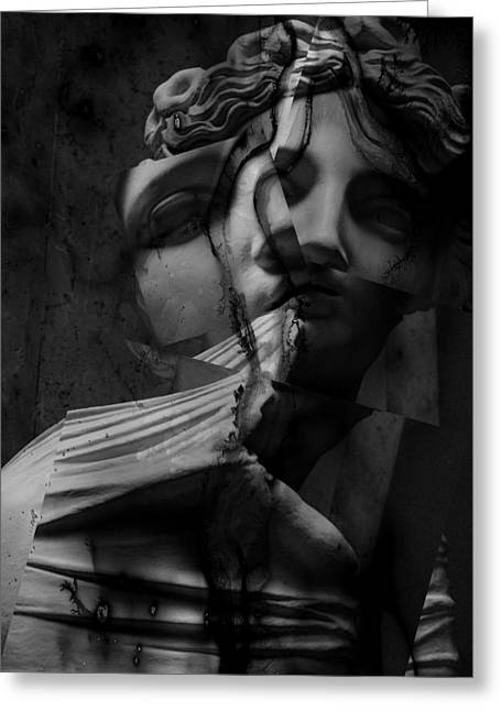 Statue Portrait Photographs Greeting Cards - Indecisive Cracks Greeting Card by Jerry Cordeiro