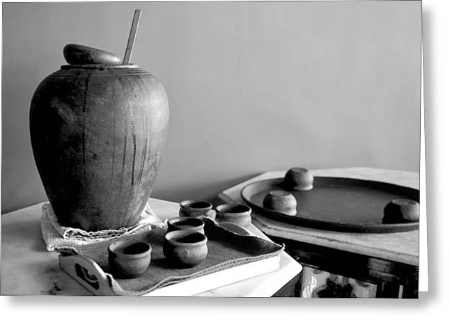 Marble Top Table Greeting Cards - Indeginous craft of earthern ware display Greeting Card by Kantilal Patel