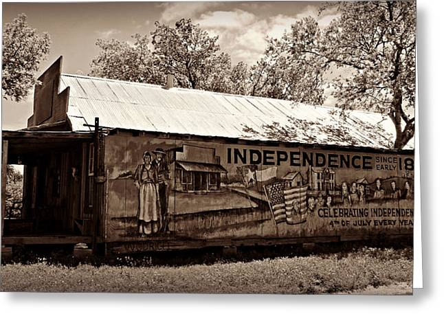 Historic Country Store Greeting Cards - Independence -- Sepia Greeting Card by Stephen Stookey