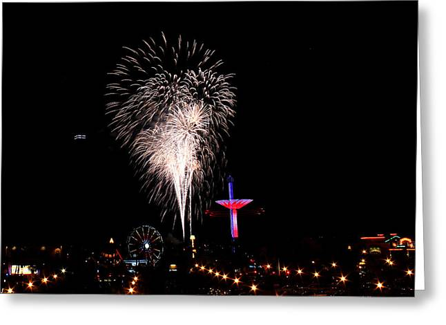 Pyrotechnics Greeting Cards - Independence Day Greeting Card by Judy Vincent