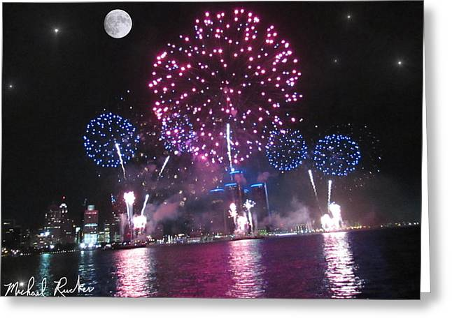 Renaissance Center Greeting Cards - Independence Day Greeting Card by Michael Rucker