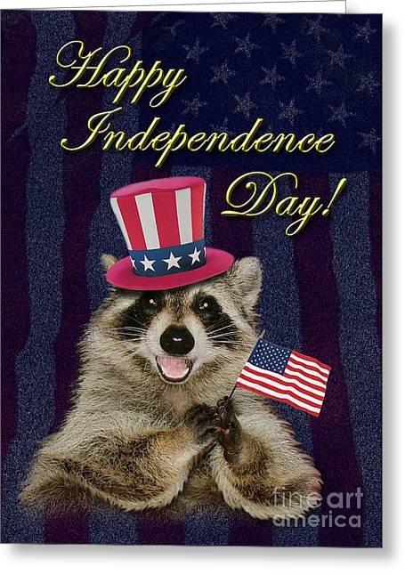 Wildlife Celebration Greeting Cards - Independence Day Raccoon Greeting Card by Jeanette K