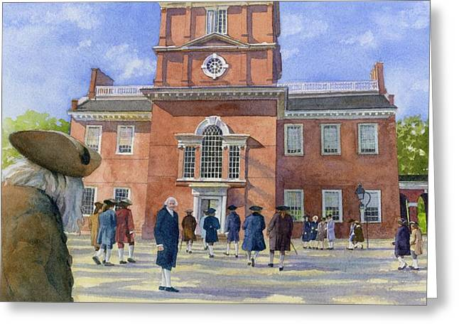 Franklin Paintings Greeting Cards - Independence Hall and Delegates Greeting Card by Rob Wood