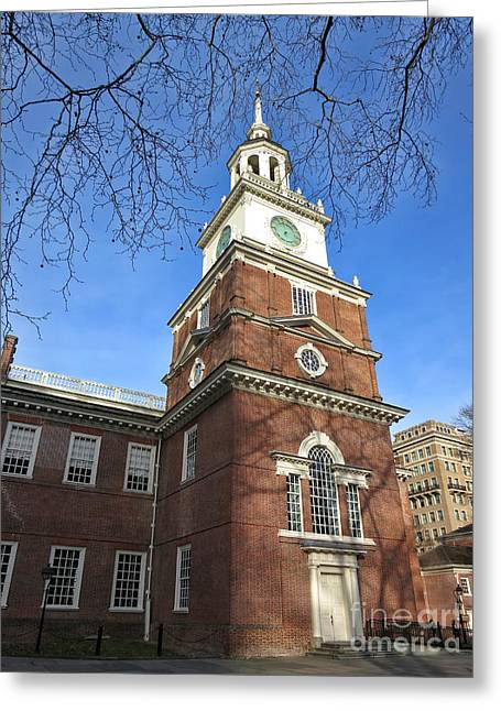 Philadelphia Greeting Cards - Independence Hall Bell Tower Greeting Card by Olivier Le Queinec