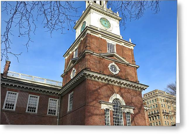 Independence Hall Bell Tower Greeting Card by Olivier Le Queinec