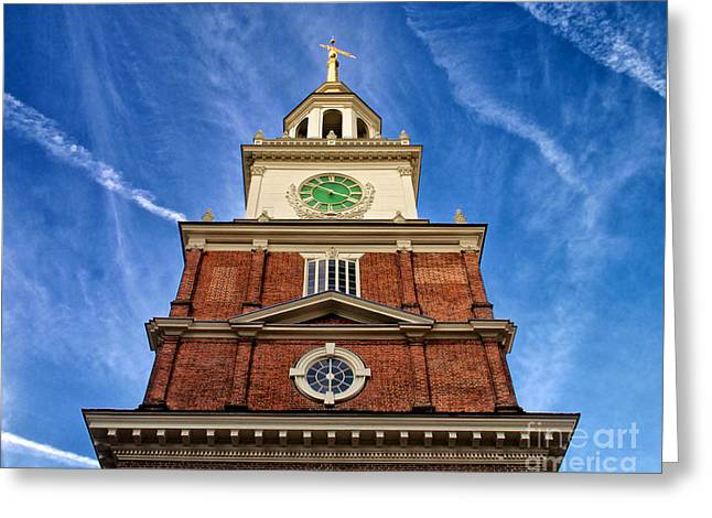 4th July Photographs Greeting Cards - Independence Hall Clock Tower Greeting Card by Mark Miller