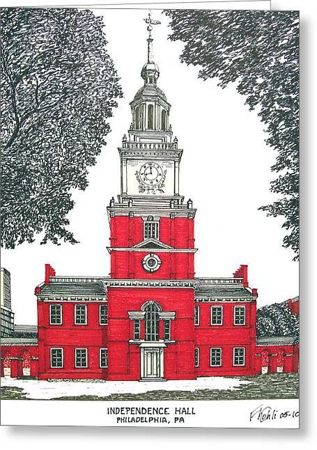 Historic Buildings Images Drawings Greeting Cards - Independence Hall Greeting Card by Frederic Kohli