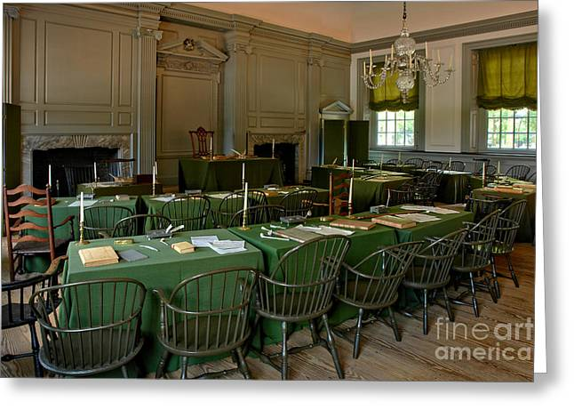 July Fourth Greeting Cards - Independence Hall in Philadelphia Greeting Card by Olivier Le Queinec
