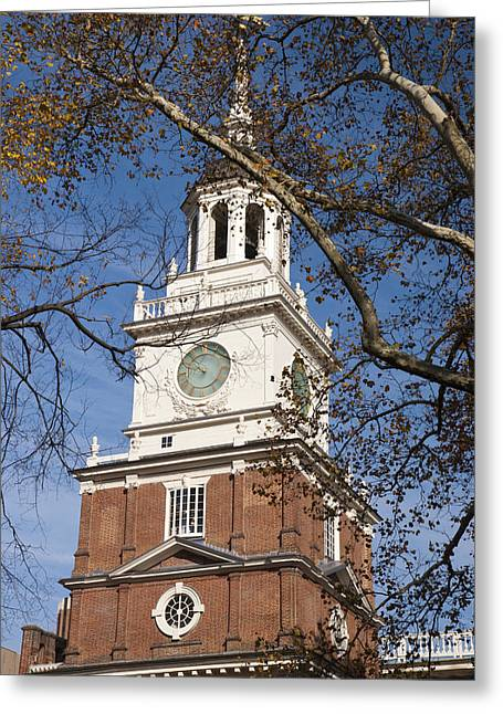 City Hall Greeting Cards - Independence Hall Greeting Card by Jennifer Lyon
