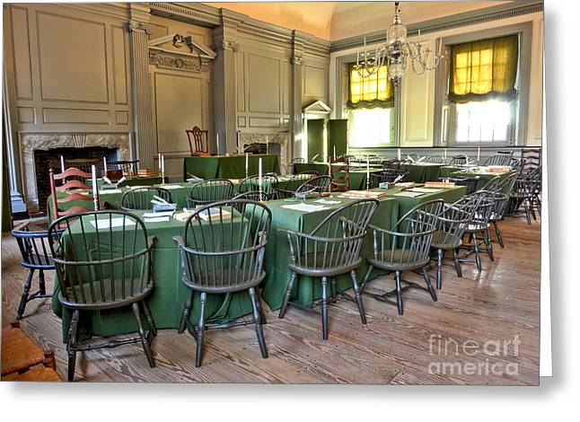Phila Photographs Greeting Cards - Independence Hall Greeting Card by Olivier Le Queinec