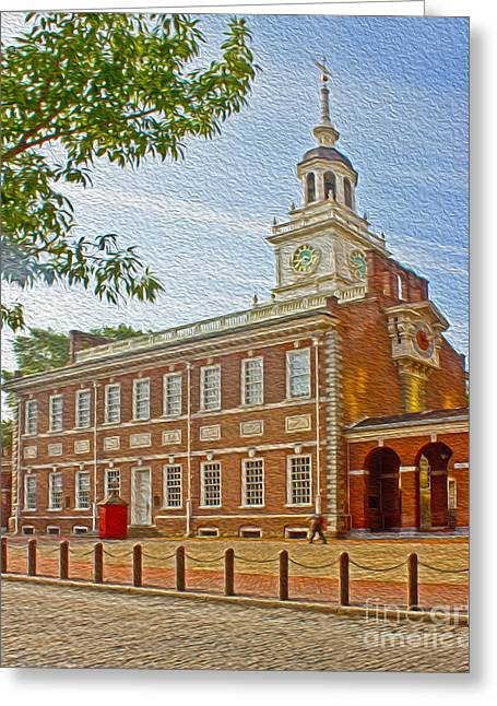American Independance Photographs Greeting Cards - Independence Hall Philadelphia  Greeting Card by Tom Gari Gallery-Three-Photography