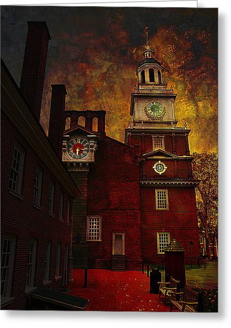 Philadelphia History Greeting Cards - Independence Hall Philadelphia let freedom ring Greeting Card by Jeff Burgess