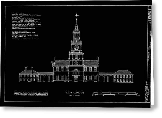 Historic Buildings Drawings Greeting Cards - Independence Hall - South Elevation Greeting Card by Daniel Hagerman