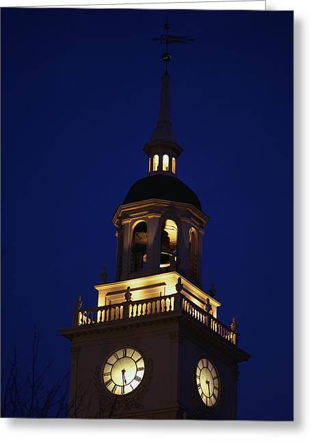 Liberation Greeting Cards - Independence Hall Tower Philadelphia Pa Greeting Card by Panoramic Images