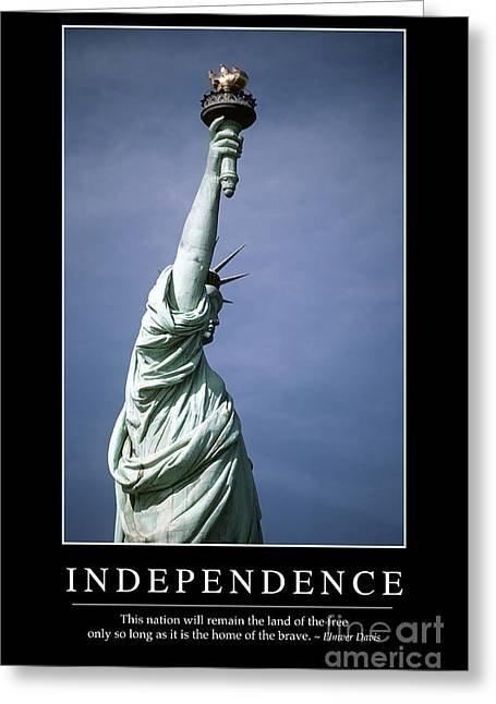 United We Stand Greeting Cards - Independence Inspirational Quote Greeting Card by Stocktrek Images