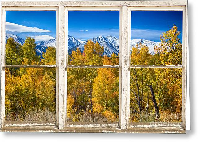 Autumn Prints Greeting Cards - Independence Pass Autumn White Peeling Window View Greeting Card by James BO  Insogna