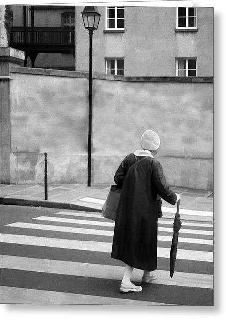 Streetlight Greeting Cards - Independence - Street Crosswalk - Woman Greeting Card by Nikolyn McDonald