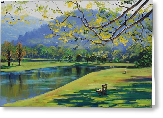 Impressionist Creek Oil Paintings Greeting Cards - Inder the shade Greeting Card by Graham Gercken