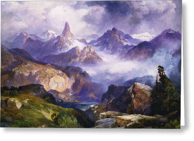 Romanticism Greeting Cards - Index Peak Yellowstone National Park Greeting Card by Thomas Moran