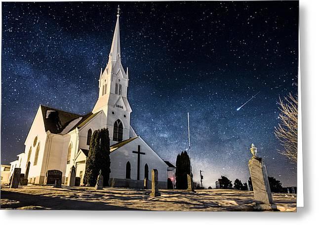Shooting Stars Greeting Cards - Indherred Church Greeting Card by Aaron J Groen