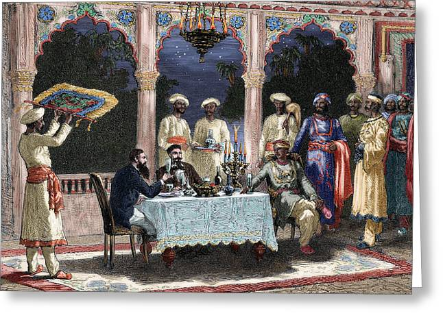 19th Century Architecture Greeting Cards - India. British Colonial Era. Banquet At The Palace Of Rais In Mynere. Engraving By Hildibrand Greeting Card by Bridgeman Images