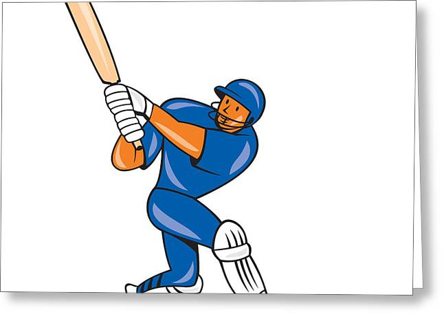 Batsman Greeting Cards - India Cricket Player Batsman Batting Cartoon Greeting Card by Aloysius Patrimonio
