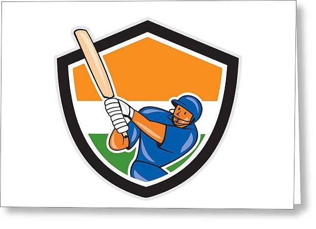 Batsman Greeting Cards - India Cricket Player Batsman Batting Shield Cartoon Greeting Card by Aloysius Patrimonio