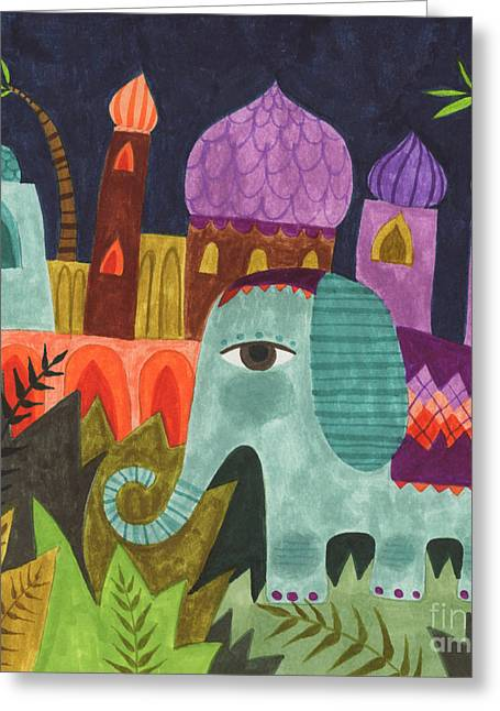 Bridal Shower Greeting Cards - India Elephant Greeting Card by Kate Cosgrove