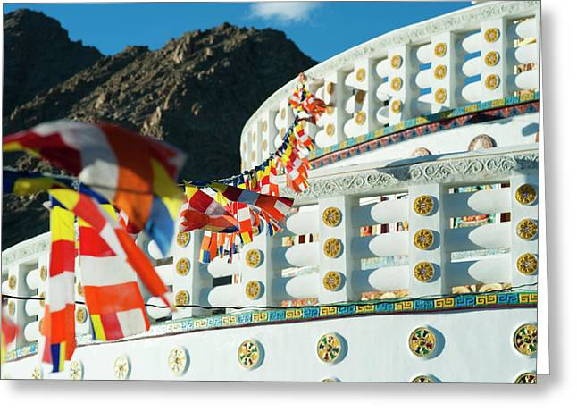 India, Ladakh, Leh, Prayer Flags Greeting Card by Anthony Asael
