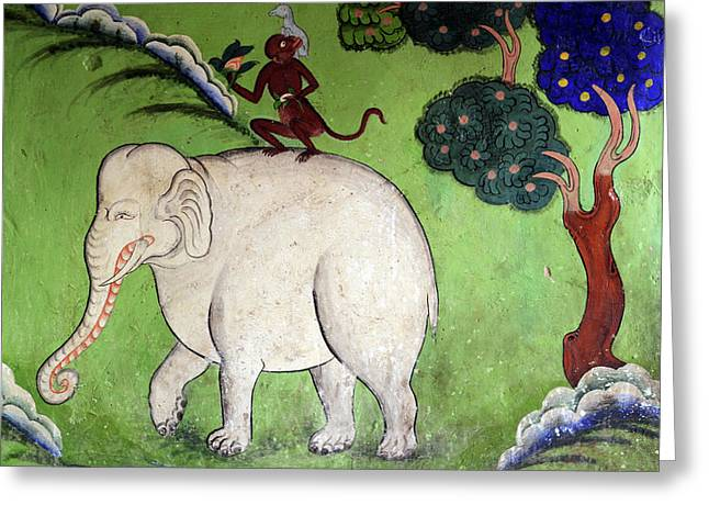 India, Ladakh, Likir, Wall Painting Greeting Card by Anthony Asael