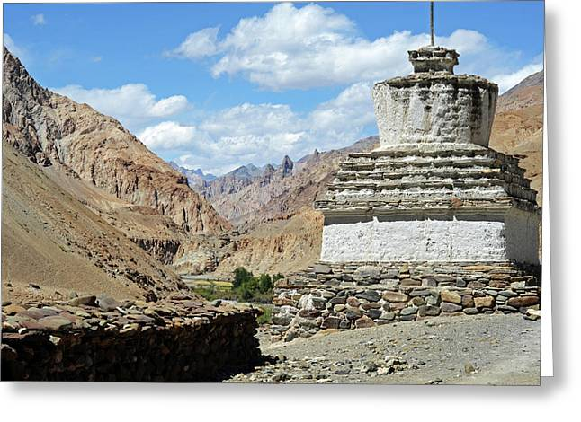 India, Ladakh, Markha Valley, White Greeting Card by Anthony Asael