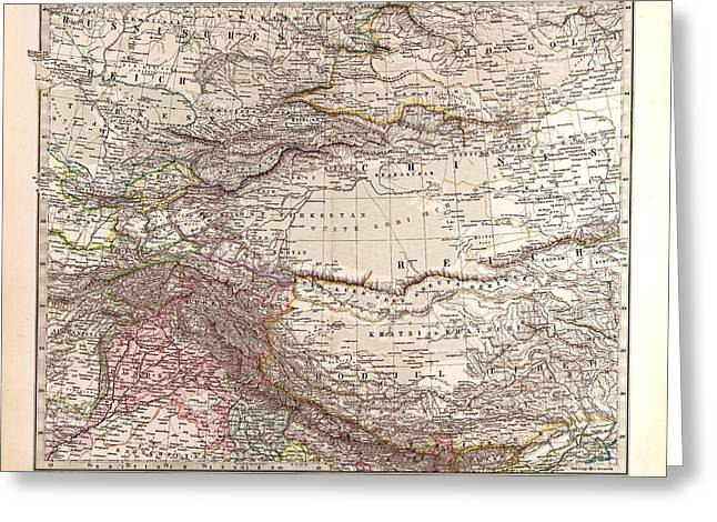 India Mongolia China Gotha Justus Perthes 1876 Atlas Greeting Card by Chinese School