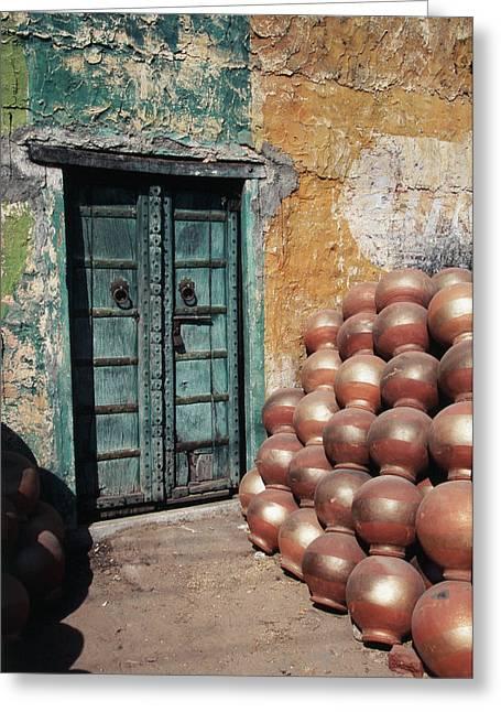 India, Rajasthan, Ceramic Pot Shop Greeting Card by Claudia Adams