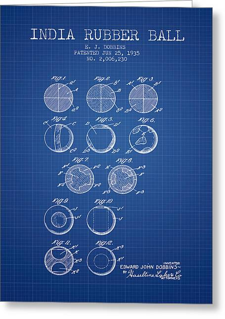 Goalie Greeting Cards - India Rubber Ball Patent from 1935 -  Blueprint Greeting Card by Aged Pixel