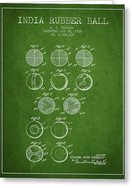 Player Digital Greeting Cards - India Rubber Ball Patent from 1935 -  Green Greeting Card by Aged Pixel