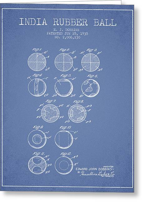 Lacrosse Greeting Cards - India Rubber Ball Patent from 1935 -  Light Blue Greeting Card by Aged Pixel