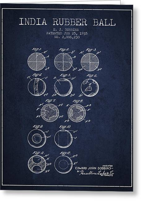 Lacrosse Art Greeting Cards - India Rubber Ball Patent from 1935 -  Navy Blue Greeting Card by Aged Pixel