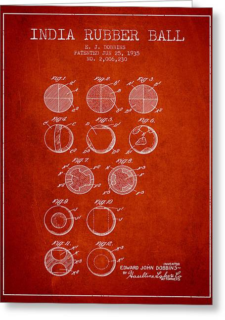 Goalie Greeting Cards - India Rubber Ball Patent from 1935 -  Red Greeting Card by Aged Pixel