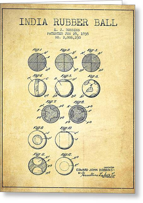Lacrosse Greeting Cards - India Rubber Ball Patent from 1935 -  Vintage Greeting Card by Aged Pixel