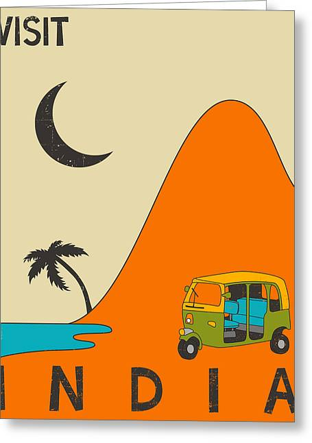 Moon Beach Digital Art Greeting Cards - India Travel Poster Greeting Card by Jazzberry Blue