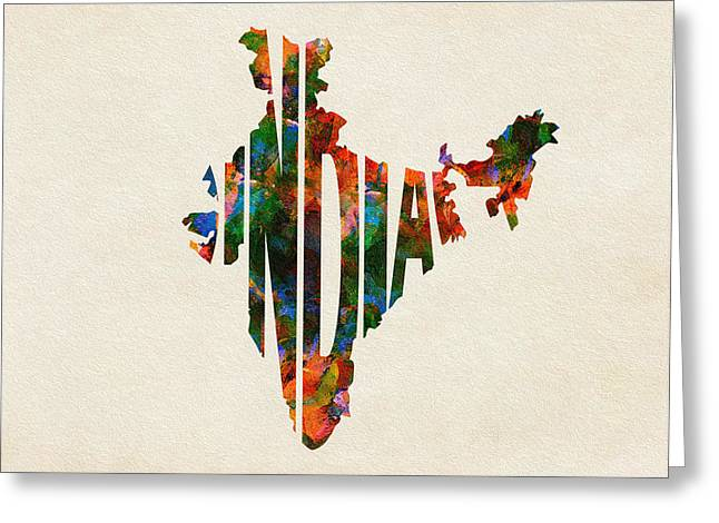 Abstract Map Greeting Cards - India Typographic Watercolor Map Greeting Card by Ayse Deniz
