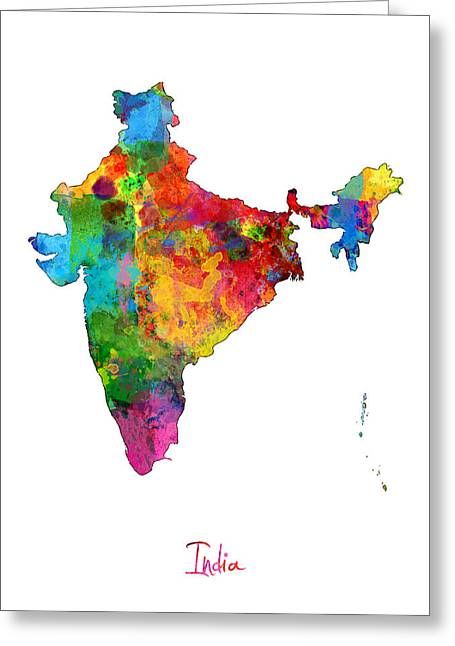 India Greeting Cards - India Watercolor Map Greeting Card by Michael Tompsett