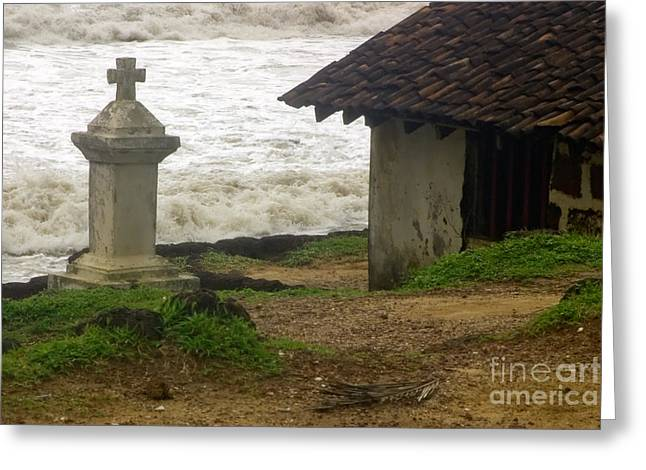 Wayside Cross Greeting Cards - India  Wayside cross Anjuna  Goa Greeting Card by Neville Bulsara